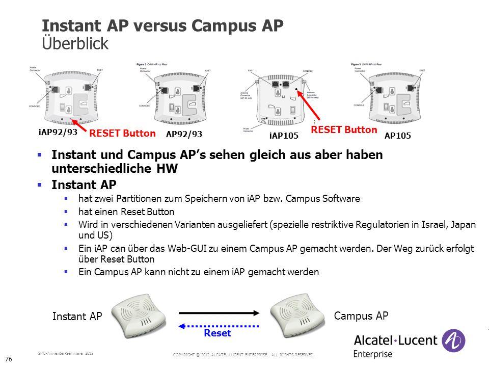 Instant AP versus Campus AP Überblick