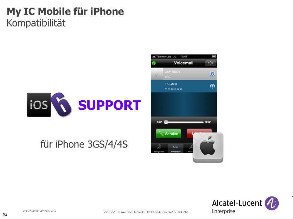 My IC Mobile für iPhone Kompatibilität SUPPORT für iPhone 3GS/4/4S 92