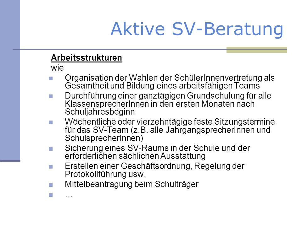 Aktive SV-Beratung Arbeitsstrukturen wie