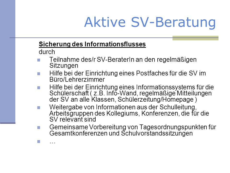 Aktive SV-Beratung Sicherung des Informationsflusses durch