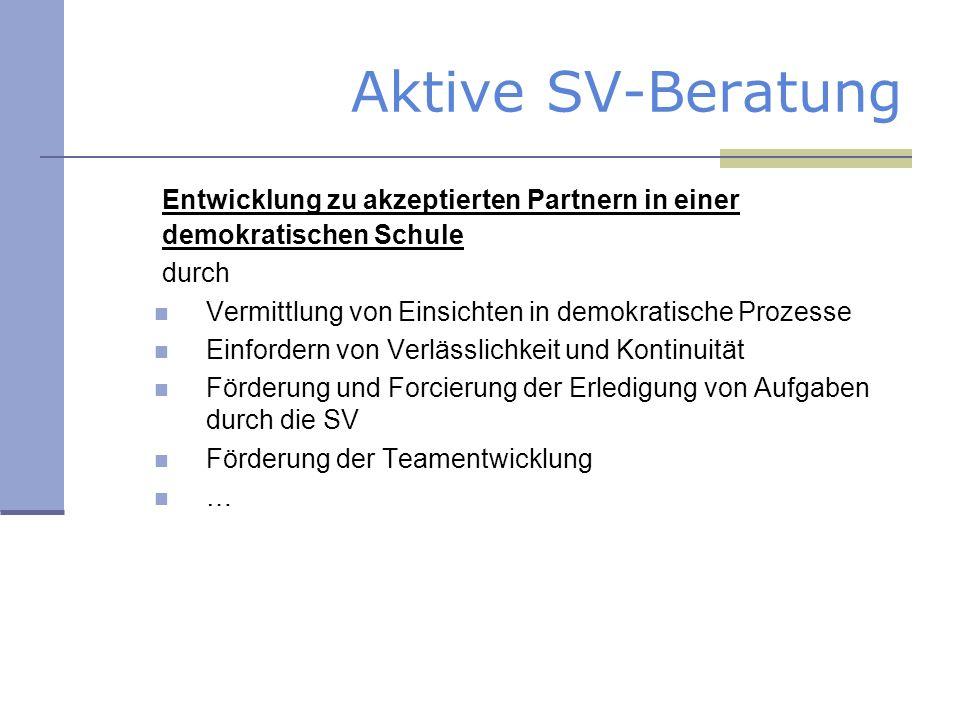 Aktive SV-Beratung Entwicklung zu akzeptierten Partnern in einer demokratischen Schule. durch. Vermittlung von Einsichten in demokratische Prozesse.