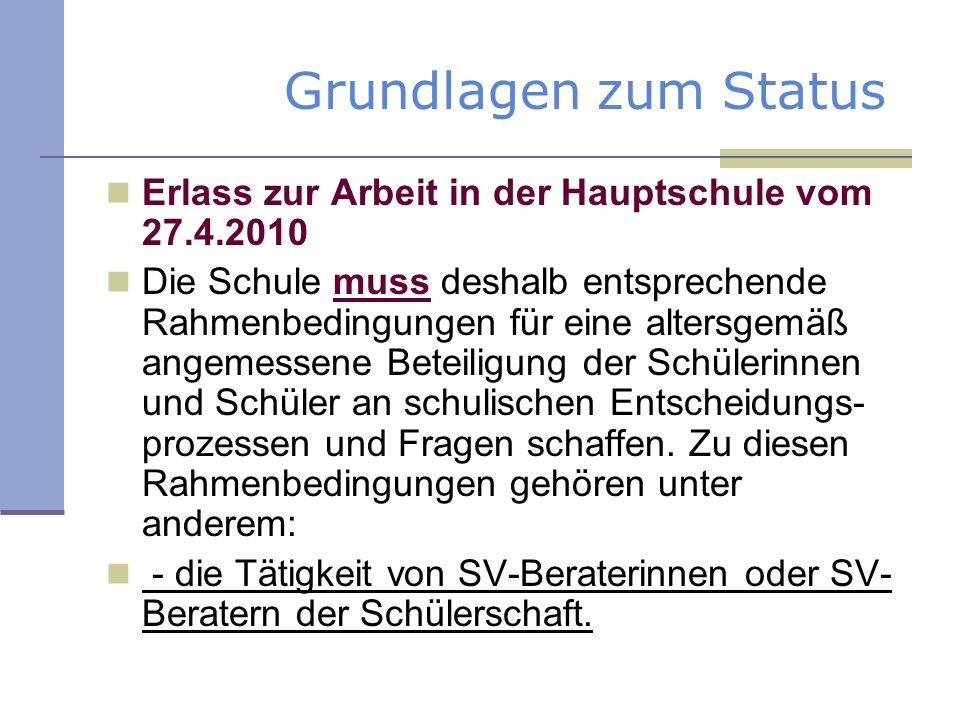 Grundlagen zum Status Erlass zur Arbeit in der Hauptschule vom 27.4.2010.