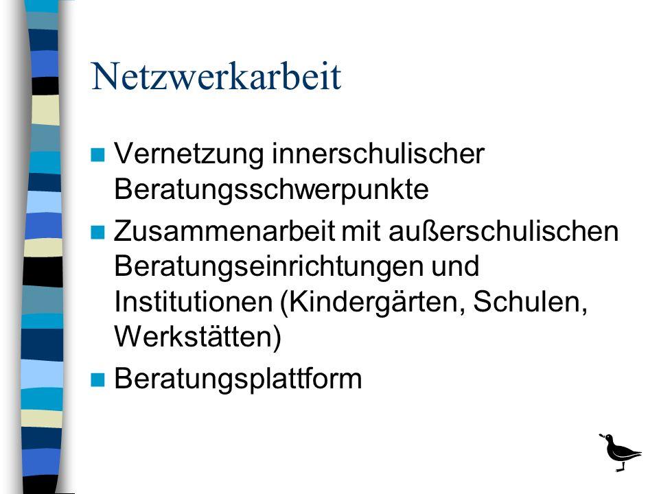 Netzwerkarbeit Vernetzung innerschulischer Beratungsschwerpunkte