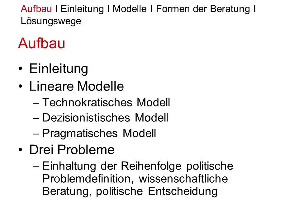 Aufbau Einleitung Lineare Modelle Drei Probleme