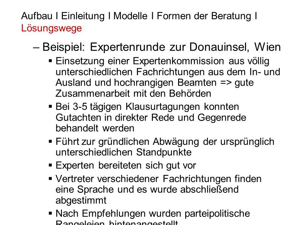 Beispiel: Expertenrunde zur Donauinsel, Wien