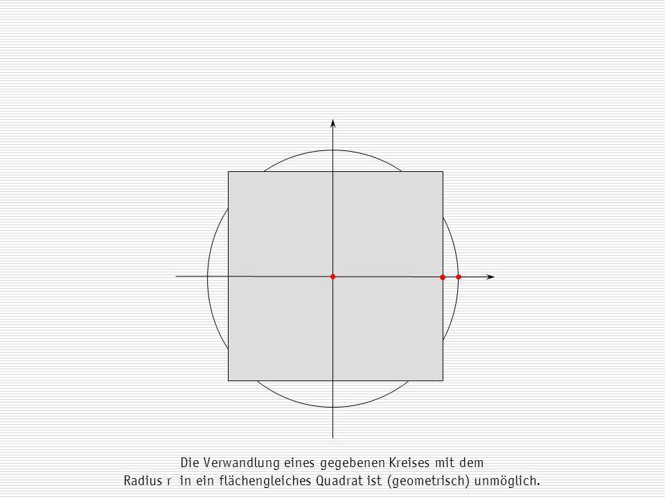 Die Verwandlung eines gegebenen Kreises mit dem Radius r in ein flächengleiches Quadrat ist (geometrisch) unmöglich.