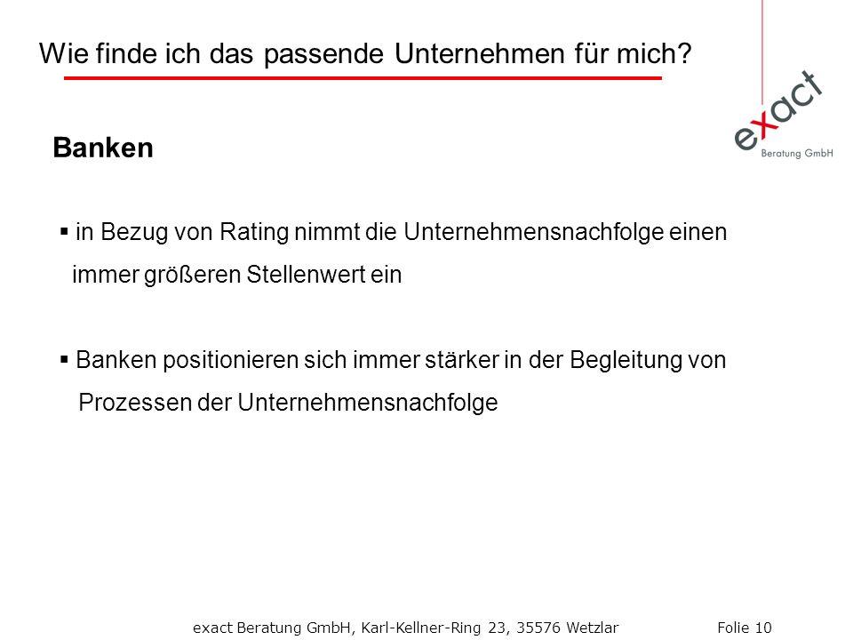 Banken in Bezug von Rating nimmt die Unternehmensnachfolge einen