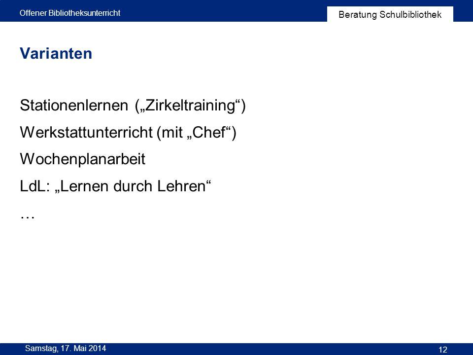 """Stationenlernen (""""Zirkeltraining ) Werkstattunterricht (mit """"Chef )"""
