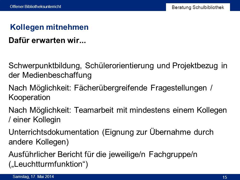 Nach Möglichkeit: Fächerübergreifende Fragestellungen / Kooperation