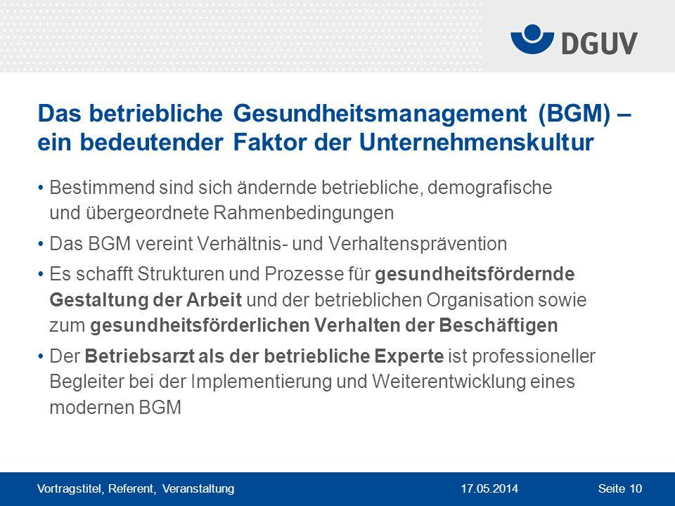 Das betriebliche Gesundheitsmanagement (BGM) – ein bedeutender Faktor der Unternehmenskultur