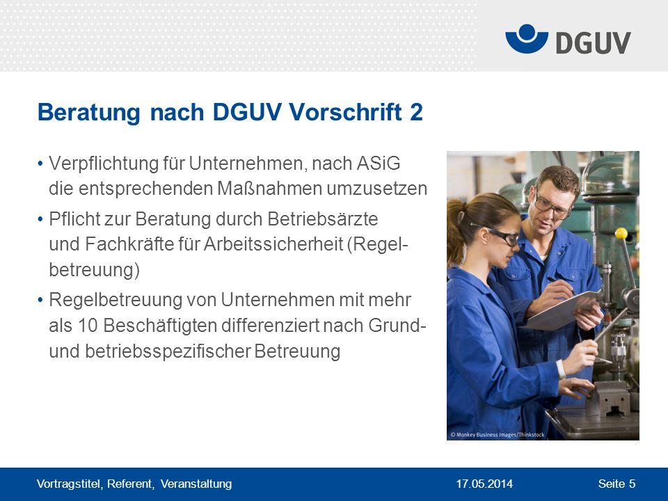 Beratung nach DGUV Vorschrift 2