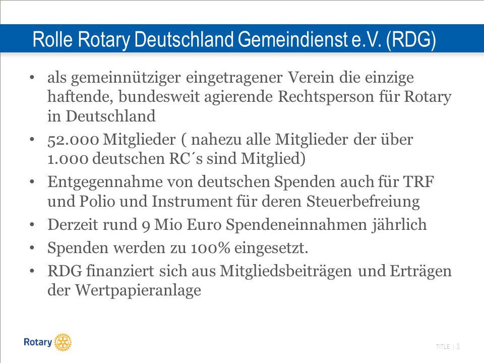 Rolle Rotary Deutschland Gemeindienst e.V. (RDG)