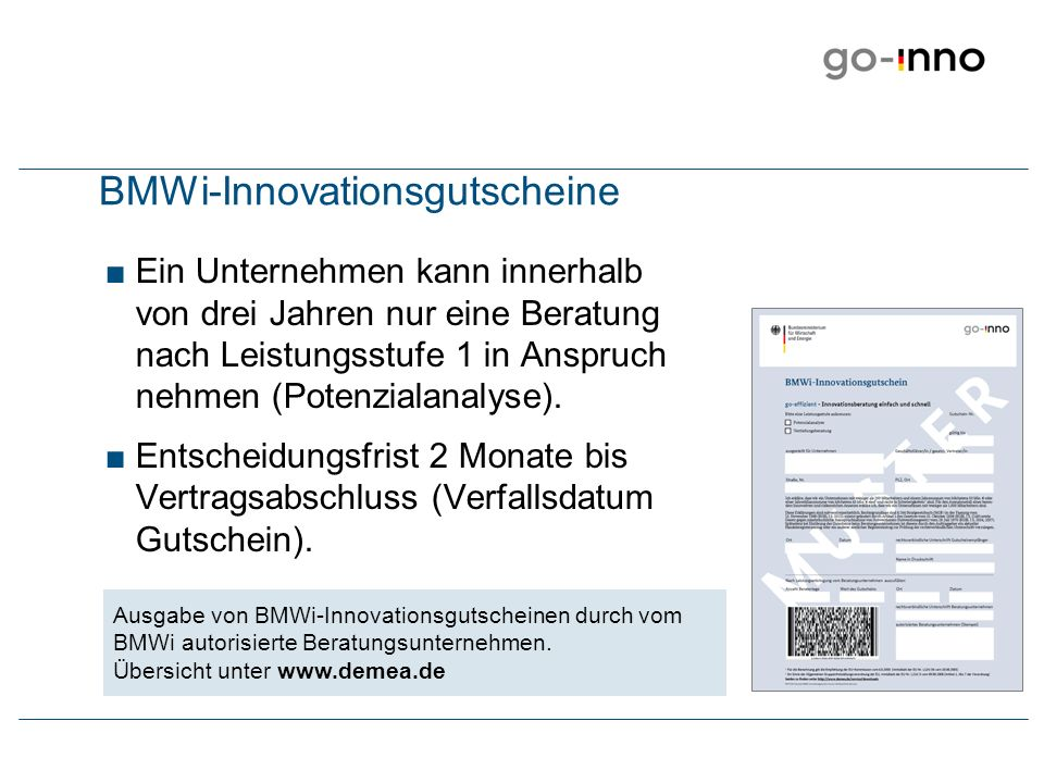 BMWi-Innovationsgutscheine