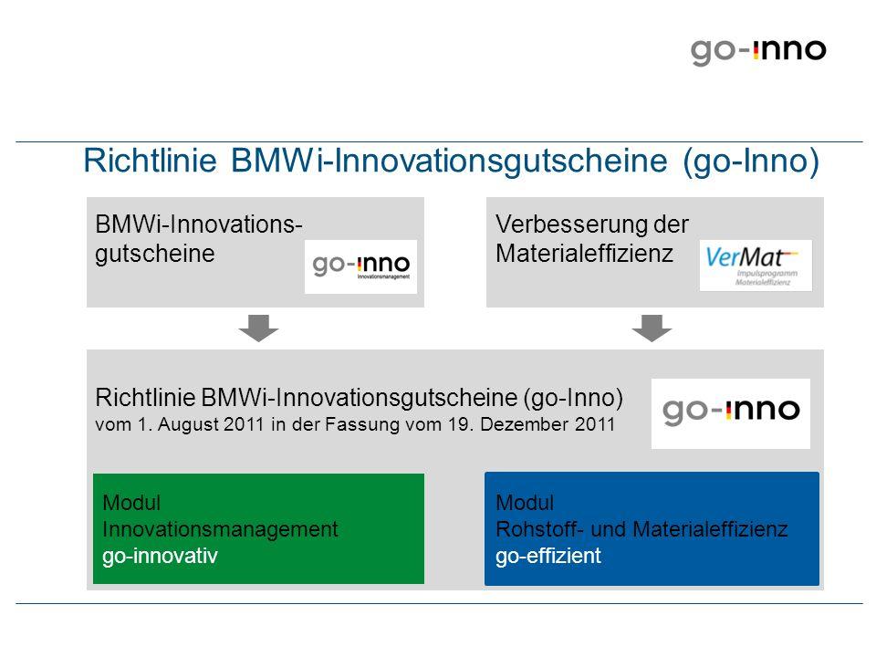Richtlinie BMWi-Innovationsgutscheine (go-Inno)