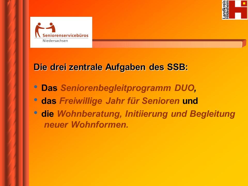 Die drei zentrale Aufgaben des SSB: Das Seniorenbegleitprogramm DUO,