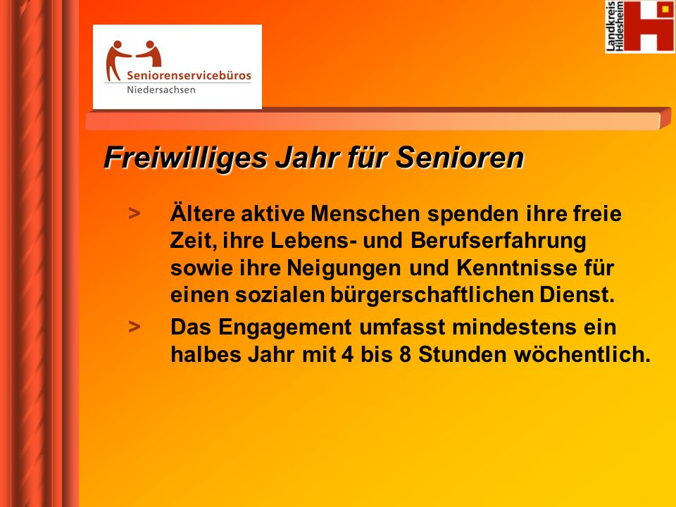 Freiwilliges Jahr für Senioren