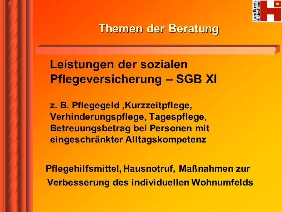 Leistungen der sozialen Pflegeversicherung – SGB XI