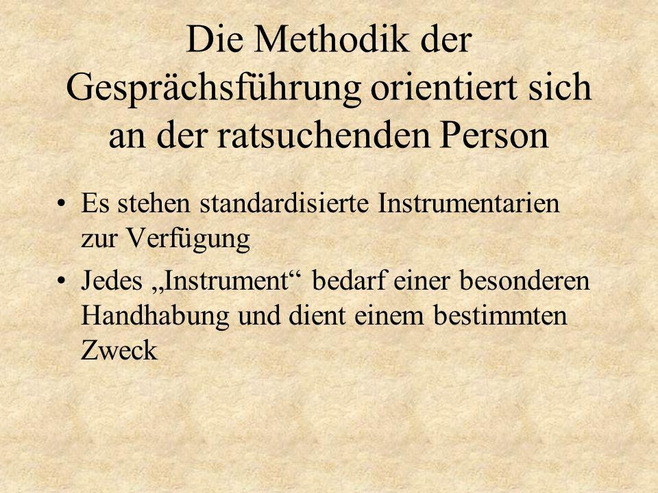 Die Methodik der Gesprächsführung orientiert sich an der ratsuchenden Person