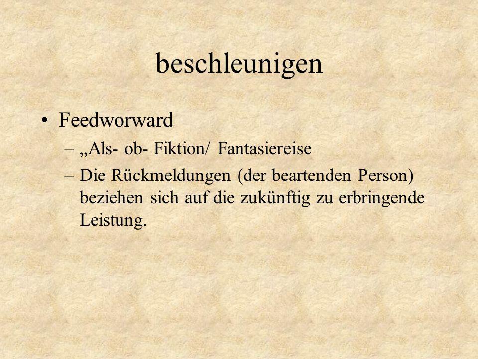 """beschleunigen Feedworward """"Als- ob- Fiktion/ Fantasiereise"""