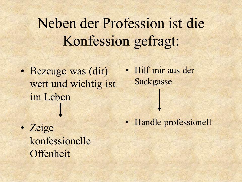Neben der Profession ist die Konfession gefragt: