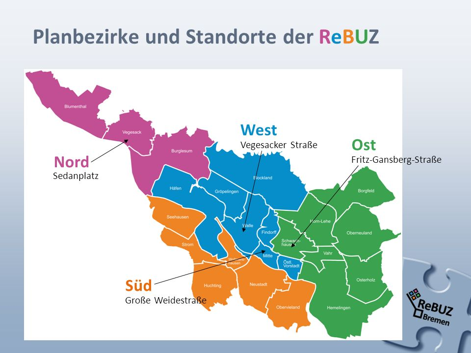 Planbezirke und Standorte der ReBUZ