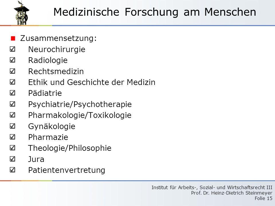 Medizinische Forschung am Menschen