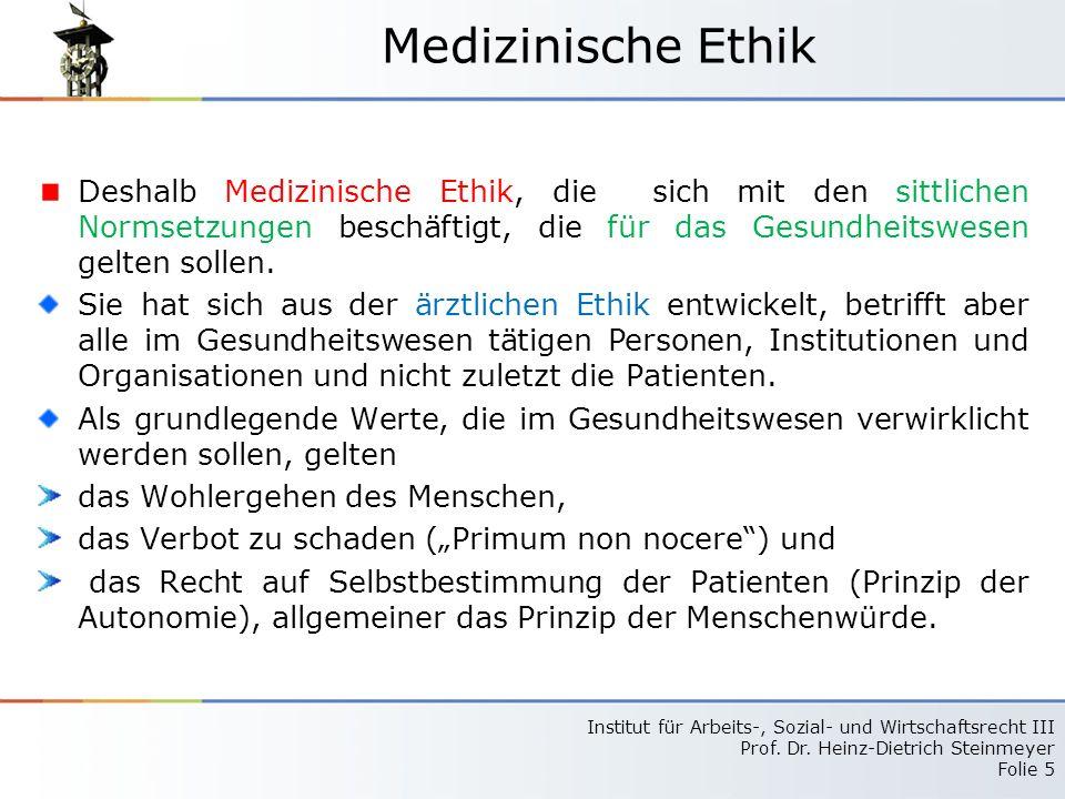 Medizinische Ethik Deshalb Medizinische Ethik, die sich mit den sittlichen Normsetzungen beschäftigt, die für das Gesundheitswesen gelten sollen.