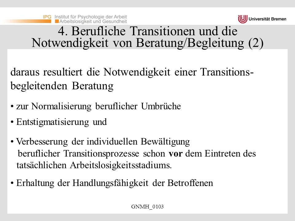 4. Berufliche Transitionen und die Notwendigkeit von Beratung/Begleitung (2)