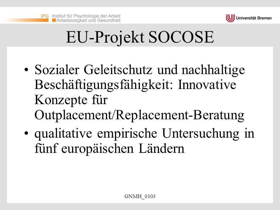 EU-Projekt SOCOSE Sozialer Geleitschutz und nachhaltige Beschäftigungsfähigkeit: Innovative Konzepte für Outplacement/Replacement-Beratung.