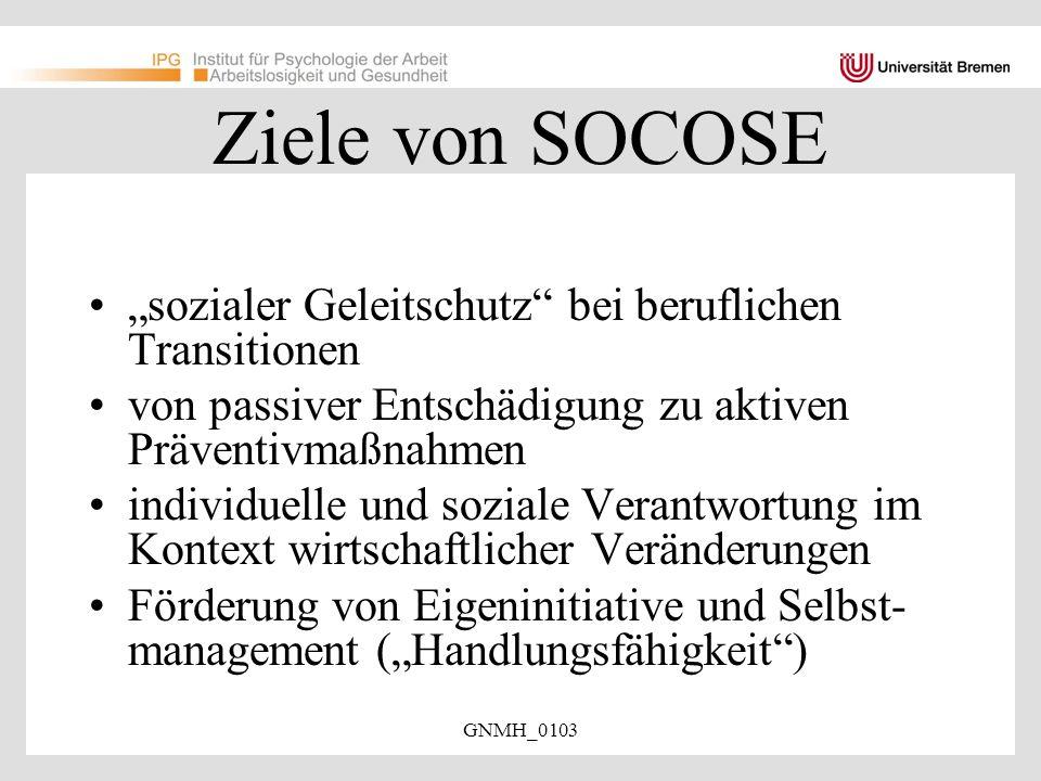 """Ziele von SOCOSE """"sozialer Geleitschutz bei beruflichen Transitionen"""