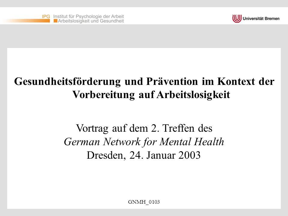 Vortrag auf dem 2. Treffen des German Network for Mental Health