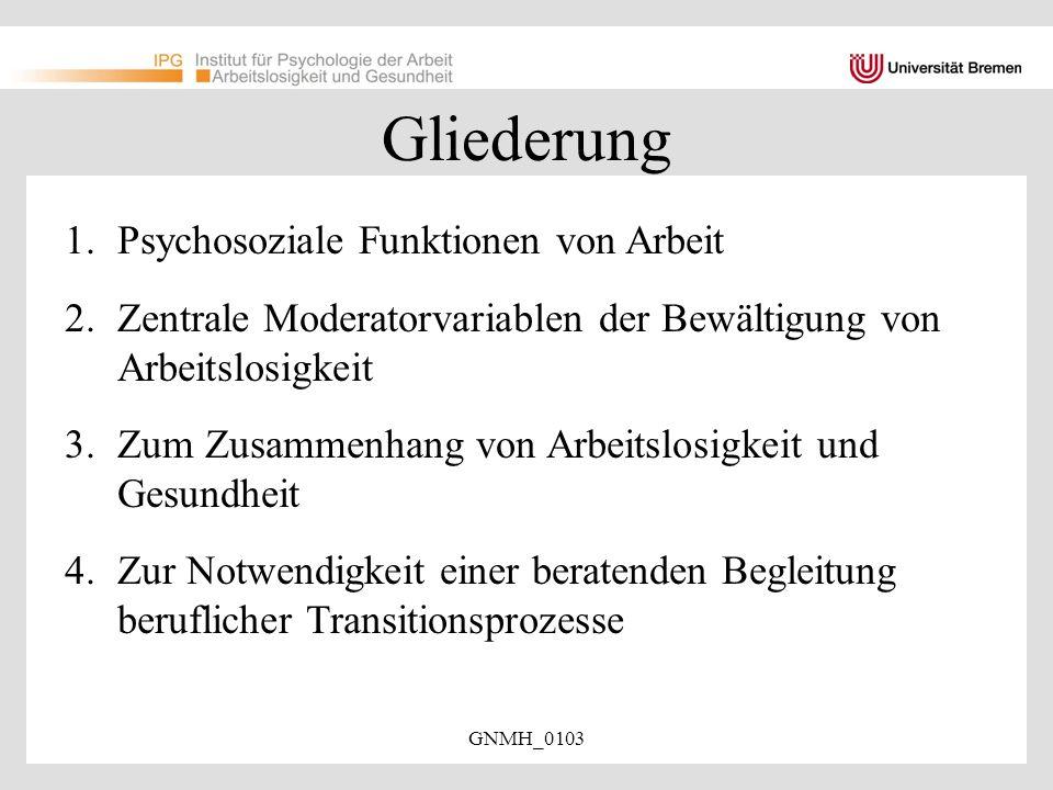 Gliederung Psychosoziale Funktionen von Arbeit