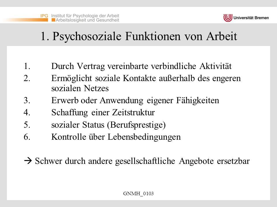 1. Psychosoziale Funktionen von Arbeit