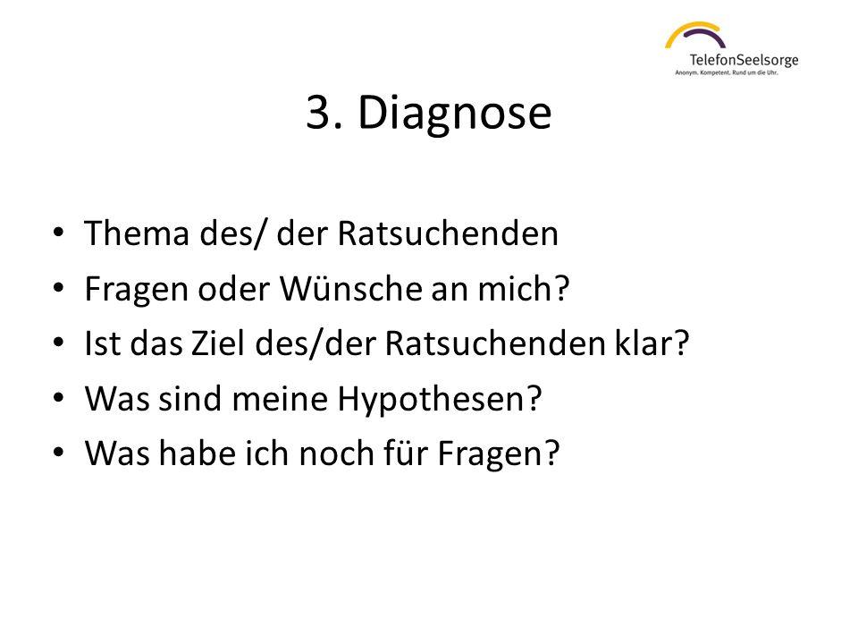 3. Diagnose Thema des/ der Ratsuchenden Fragen oder Wünsche an mich