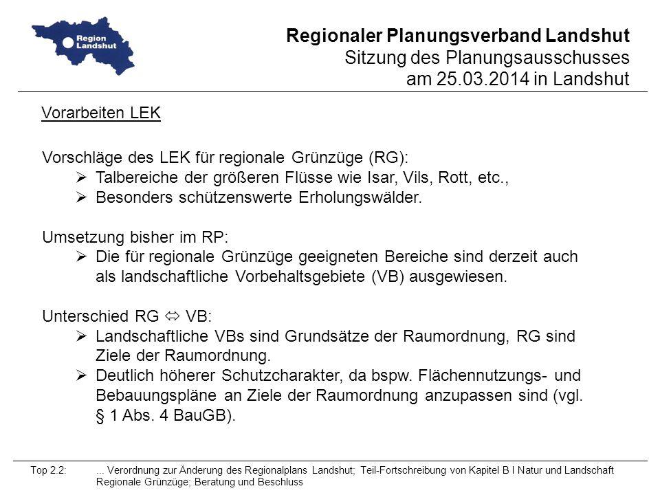 Vorschläge des LEK für regionale Grünzüge (RG):