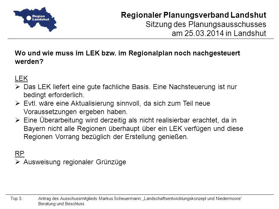 Wo und wie muss im LEK bzw. im Regionalplan noch nachgesteuert werden