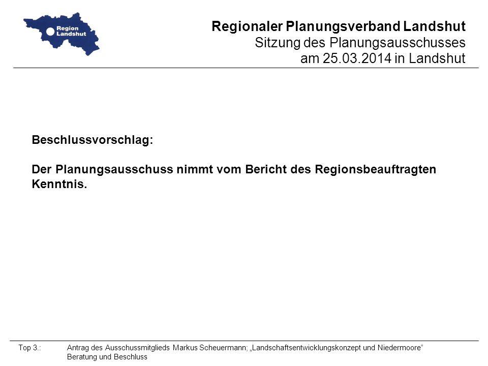 Beschlussvorschlag: Der Planungsausschuss nimmt vom Bericht des Regionsbeauftragten Kenntnis.