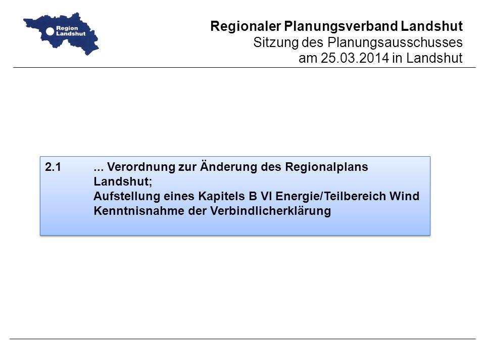 2.1 ... Verordnung zur Änderung des Regionalplans Landshut;