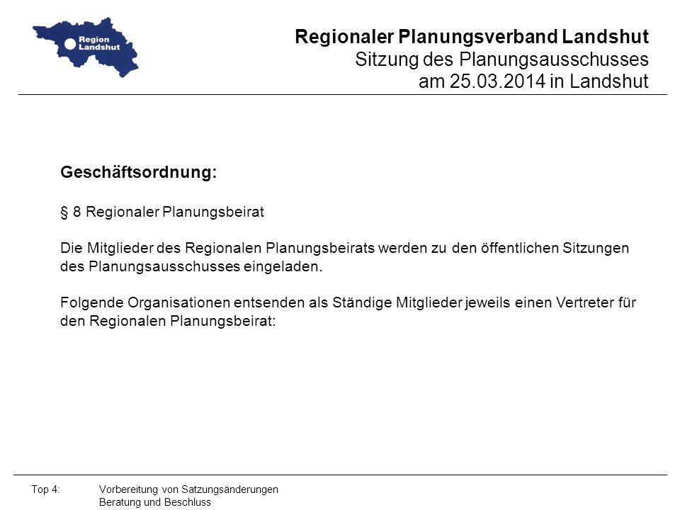 Geschäftsordnung: § 8 Regionaler Planungsbeirat