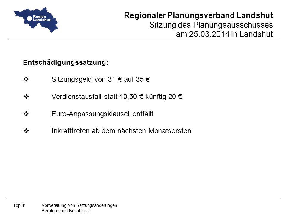 Entschädigungssatzung: Sitzungsgeld von 31 € auf 35 €