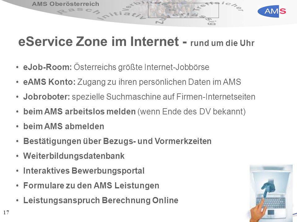 eService Zone im Internet - rund um die Uhr
