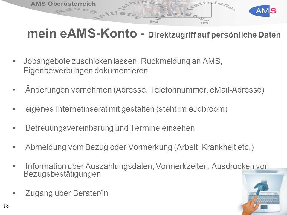 mein eAMS-Konto - Direktzugriff auf persönliche Daten
