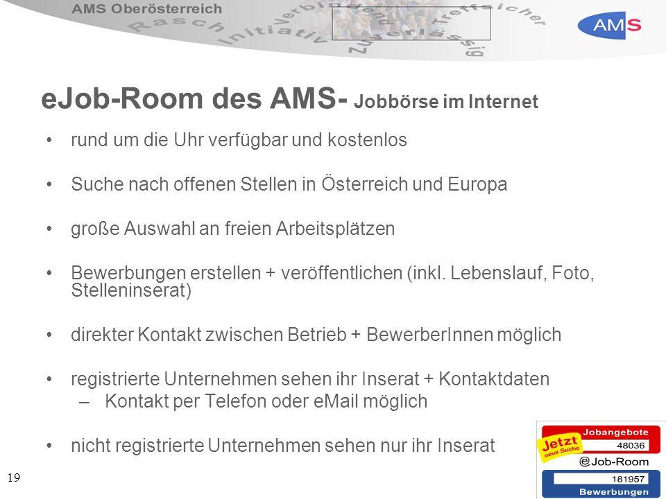 eJob-Room des AMS- Jobbörse im Internet