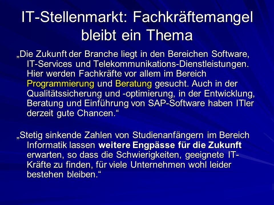 IT-Stellenmarkt: Fachkräftemangel bleibt ein Thema