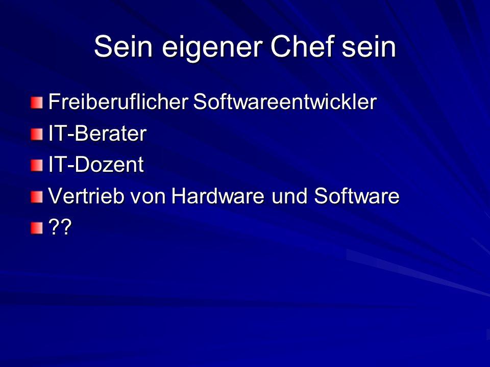 Sein eigener Chef sein Freiberuflicher Softwareentwickler IT-Berater