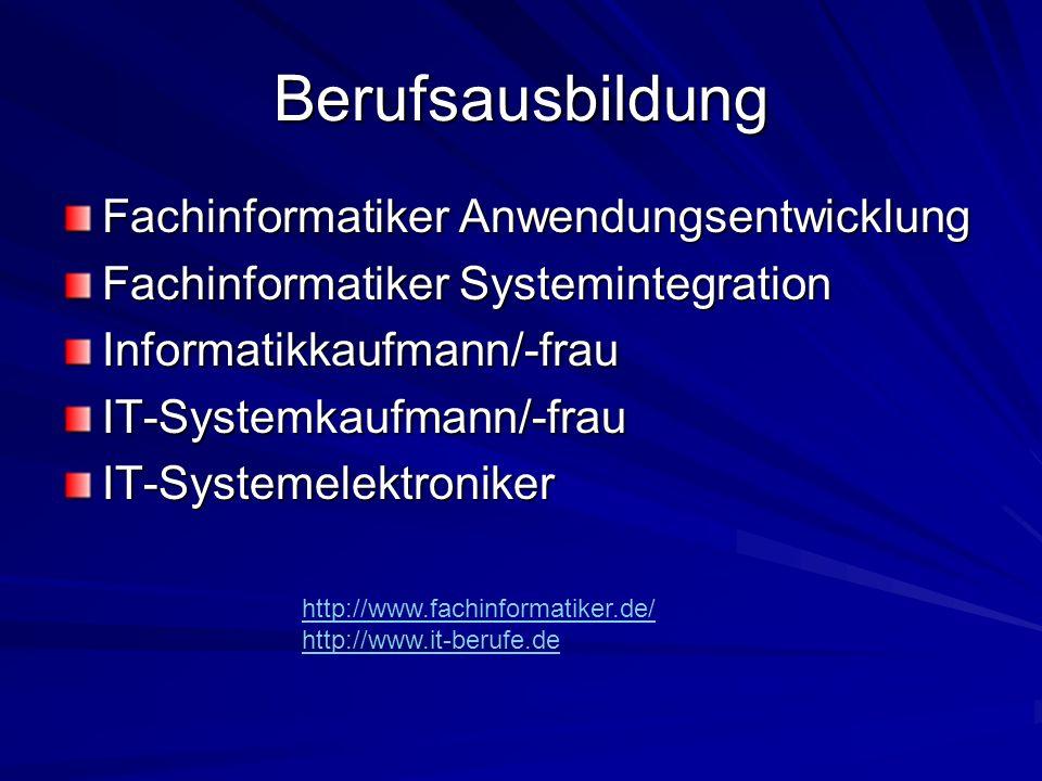 Berufsausbildung Fachinformatiker Anwendungsentwicklung