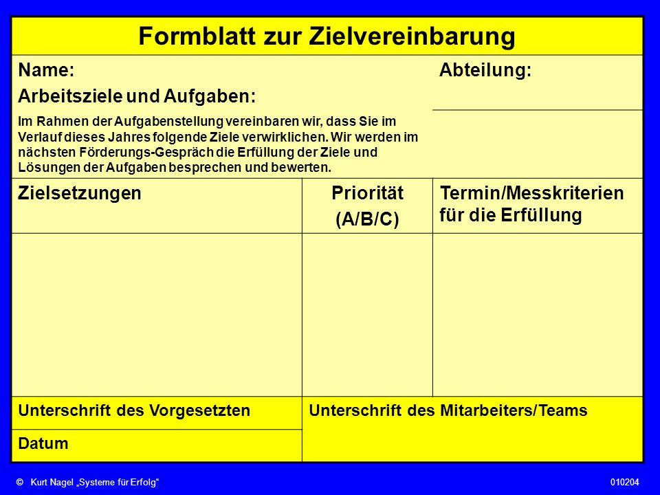 Formblatt zur Zielvereinbarung