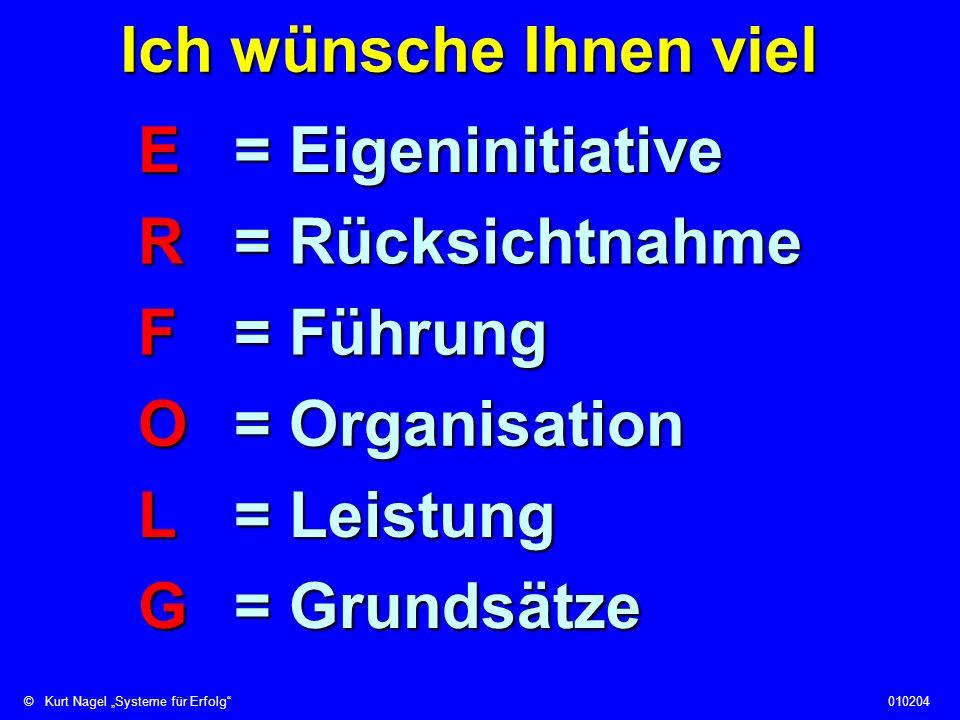 Ich wünsche Ihnen viel E = Eigeninitiative. R = Rücksichtnahme. F = Führung. O = Organisation. L = Leistung.
