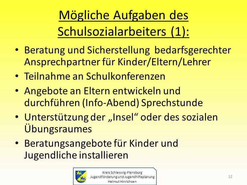 Mögliche Aufgaben des Schulsozialarbeiters (1):