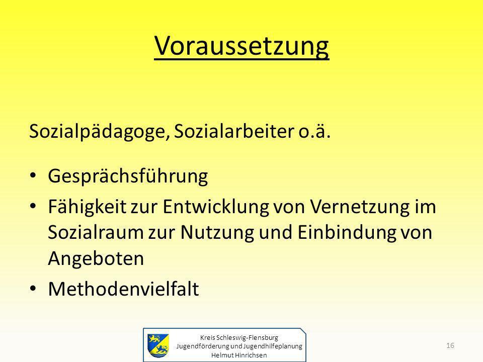 Voraussetzung Sozialpädagoge, Sozialarbeiter o.ä. Gesprächsführung